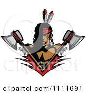 Clipart Native American Indian Brave Man With Crossed Axes Royalty Free Vector Illustration by Chromaco