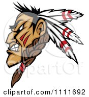 Profiled Native American Indian Brave Man With Three Feathers And A Braid