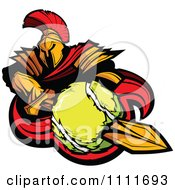 Clipart Spartan Warrior Mascot Stabbing A Tennis Ball With His Golden Sword Royalty Free Vector Illustration