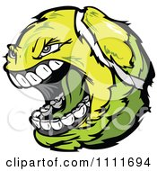 Clipart Screaming Aggressive Tennis Ball Mascot Royalty Free Vector Illustration by Chromaco