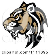 Clipart Tough Cougar Mascot Head In Profile Royalty Free Vector Illustration by Chromaco