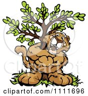 Cougar Mascot Hugging A Tree