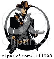 Clipart Western Cowboy Holding A Revolver In A Circle Royalty Free Vector Illustration