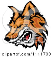 Clipart Profiled Aggressive Fox Head Mascot Royalty Free Vector Illustration by Chromaco