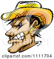 Poster, Art Print Of Profiled Tough Farmer Man Chewing On Straw