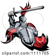 Clipart Medieval Knight Mascot With A Shield And Sword Royalty Free Vector Illustration