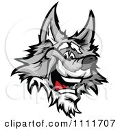 Clipart Happy Gray Wolf Mascot Head Royalty Free Vector Illustration by Chromaco