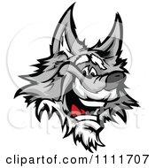 Happy Gray Wolf Mascot Head