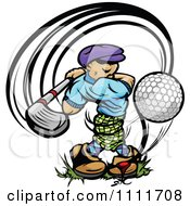 Clipart Golfer Teeing Off With A Big Swing Royalty Free Vector Illustration