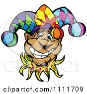 Clipart Happy Smiling Jester Face Royalty Free Vector Illustration