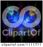 Clipart Blue Fractal Design On Black Royalty Free CGI Illustration