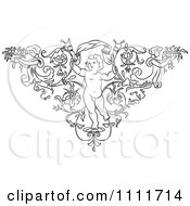 Clipart Outlined Cherub In A Floral Triangle With Angels Royalty Free Vector Illustration