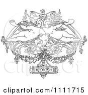 Clipart Outlined Cherubs In Vintage Design Royalty Free Vector Illustration