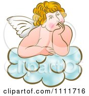 Clipart Cherub Daydreaming On A Cloud Royalty Free Illustration