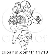 Clipart Outlined Cherub With Flowers Royalty Free Vector Illustration