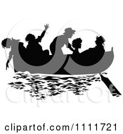Clipart Silhouetted Kids In A Boat In Black And White Royalty Free Vector Illustration