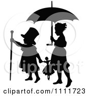Clipart Silhouetted Boy And Girl Playing With A Doll And Umbrella In Black And White Royalty Free Vector Illustration