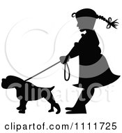 Clipart Silhouetted Girl With A Dog On A Leash In Black And White Royalty Free Vector Illustration