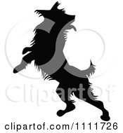 Clipart Silhouetted Dog Jumping In Black And White Royalty Free Vector Illustration