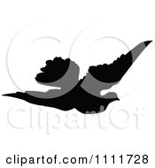 Clipart Silhouetted Flying Dove In Black And White Royalty Free Vector Illustration