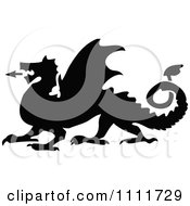 Clipart Silhouetted Roaring Dragon In Black And White Royalty Free Vector Illustration by Prawny Vintage