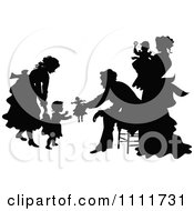 Clipart Silhouetted Family Playing In Black And White Royalty Free Vector Illustration