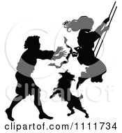 Clipart Silhouetted Boy Pushing A Girl On A Swing In Black And White Royalty Free Vector Illustration