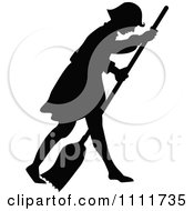 Clipart Silhouetted Girl Sweeping With A Broom In Black And White Royalty Free Vector Illustration by Prawny Vintage
