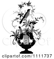 Clipart Silhouetted Bird On A Vine With A Lyre In Black And White Royalty Free Vector Illustration
