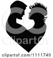 Clipart Silhouetted Embracing Couple Forming A Heart In Black And White Royalty Free Vector Illustration