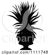 Clipart Silhouetted Potted Aloe Plant In Black And White Royalty Free Vector Illustration