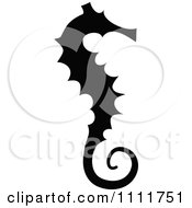Clipart Silhouetted Seahorse In Black And White Royalty Free Vector Illustration