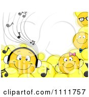 Clipart Smiley Emoticons With Headphones And Music Notes Royalty Free Vector Illustration