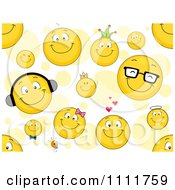 Clipart Seamless Smiley Emoticon Pattern With Circles Royalty Free Vector Illustration