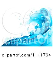 Clipart Blue Ocean Surf Splashes 1 Royalty Free Vector Illustration