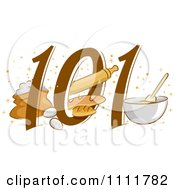 Clipart Baking 101 Icon With Eggs Bread And A Bowl Royalty Free Vector Illustration