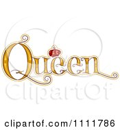 Clipart The Stylized Word QUEEN With A Crown Royalty Free Vector Illustration by BNP Design Studio