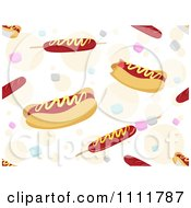 Clipart Seamless Pattern Of Hot Dogs Over Colorful Bubbles Royalty Free Vector Illustration