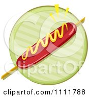Clipart Hot Dog With Mustard On A Stick Over Green Royalty Free Vector Illustration