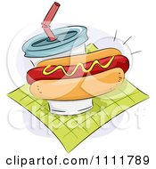 Clipart Hot Dog With Mustard And A Soft Drink On A Green Napkin Royalty Free Vector Illustration