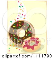 Clipart Donuts With Sprinkles On Yellow Royalty Free Vector Illustration