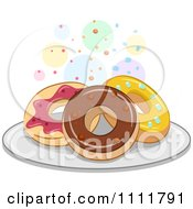 Clipart Donuts On A Plate With Colorful Circles Royalty Free Vector Illustration