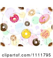 Clipart Seamless Pattern Of Donuts And Sprinkles Over Colorful Bubbles Royalty Free Vector Illustration