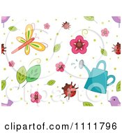 Clipart Seamless Pattern Of Flowers Leaves Ladybugs Dragonflies Birds And A Watering Can On White Royalty Free Vector Illustration