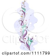 Clipart Beautiful Purple Vine With Blue Flowers Royalty Free Vector Illustration