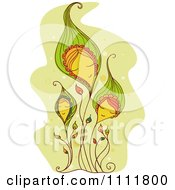 Clipart Pleasant Flowers With Faces Over Green Royalty Free Vector Illustration