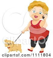 Clipart Happy Female Senior Citizen Talking On A Cell Phone And Walking A Dog Royalty Free Vector Illustration