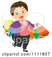 Clipart Happy Female Senior Citizen Carrying Shopping Bags Royalty Free Vector Illustration
