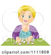 Clipart Happy Blond Senior Citizen Playing Dominoes Royalty Free Vector Illustration