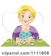 Happy Blond Senior Citizen Playing Dominoes